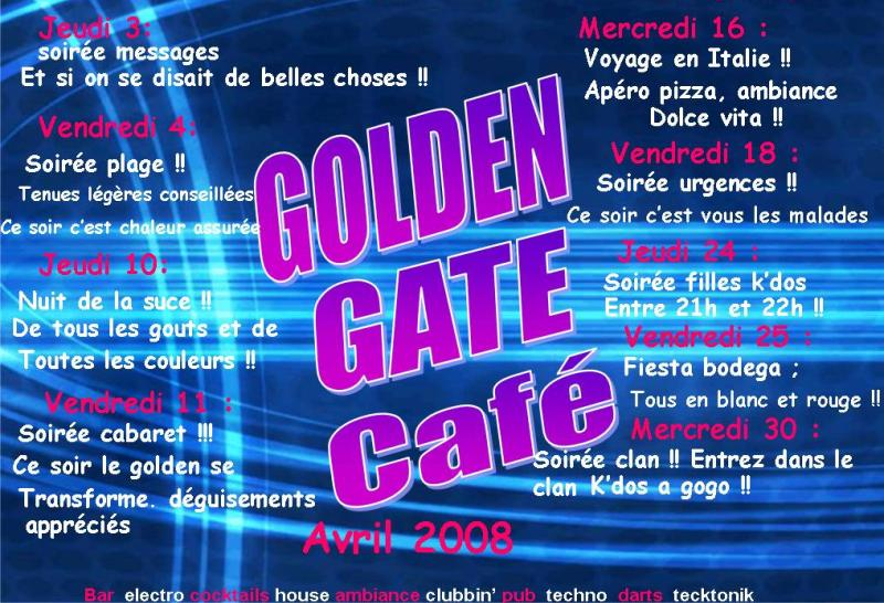 Golden Gate Café, programme de avril 2008