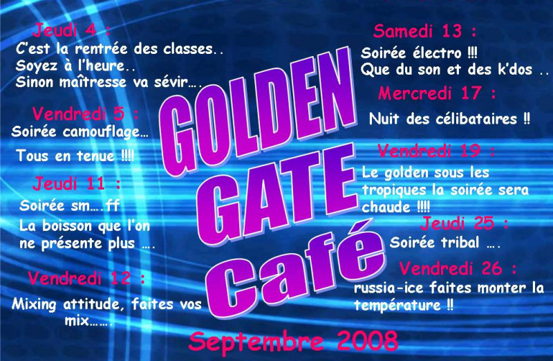 Golden Gate Café, programme de septembre 2008